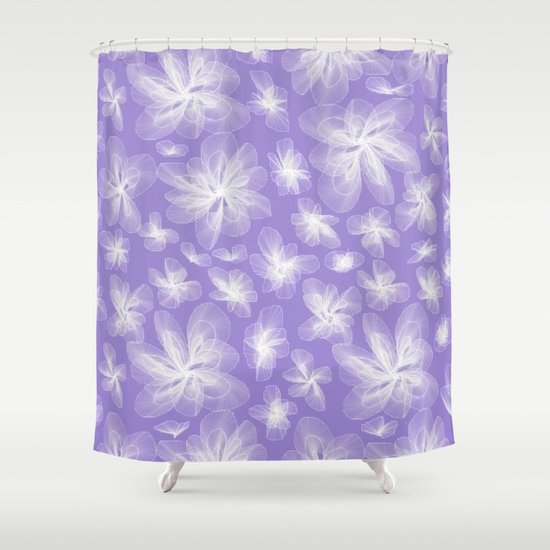 little white flowers with purple shower curtain by