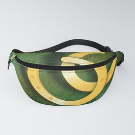 Lucky horseshoes on a textured green background Fanny Pack