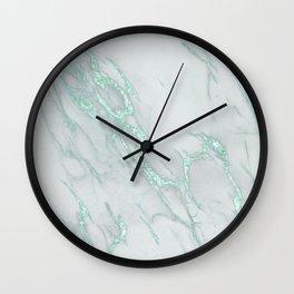 Marble Love Mint Metallic Wall Clock