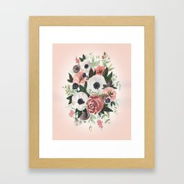 Anemone Berry Watercolor Bouquet Framed Art Print