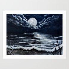 Moonlight Beach by Veron Ramsawak Art Print