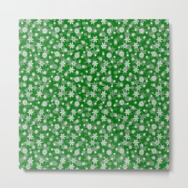 Festive Green and White Christmas Holiday Snowflakes Metal Print