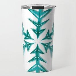 Minimalistic Aquamarine Snowflake Travel Mug