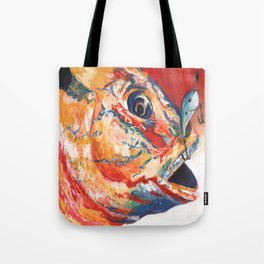 Expressionistic Blue Gill Sport Fish with Lure Tote Bag