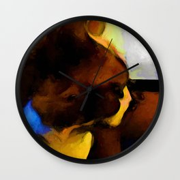 Portrait of a Brown and Blue Cat Wall Clock