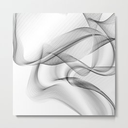 Minimal black and white smoky flux in motion #abstractart #decor Metal Print