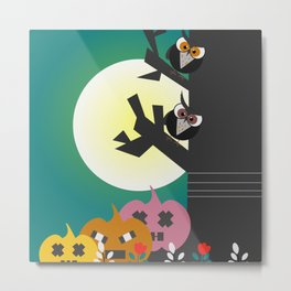 Owls in the moonlight Metal Print