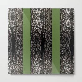 Gothic tree striped pattern green Metal Print