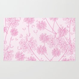 Dandelion Plants, Flower Heads - Pale Pink Rug