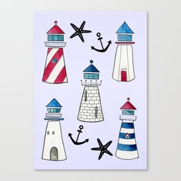 Watercolor Lighthouses Canvas Print