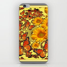 Butterfly & Sunflower Yellow Nature Patterns iPhone Skin