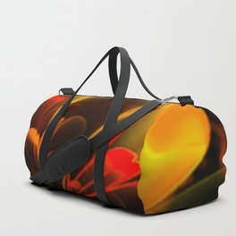Stylized Half Flower Red Duffle Bag