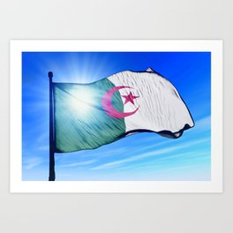 Algeria flag waving on the wind Art Print