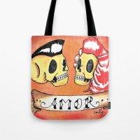 rockabilly Tote Bags featuring Amor Rockabilly by El Catrin Arte