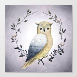 A Long Eared Owl On A Laurel Canvas Print