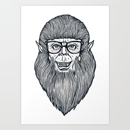 Nerdy Teen Wolf Art Print