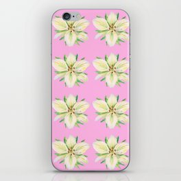 White Lily Pattern on Pink iPhone Skin