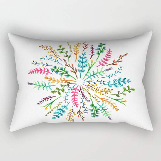 Radial Foliage Rectangular Pillow