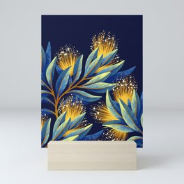 Pohutukawa - Yellow / Blue Mini Art Print