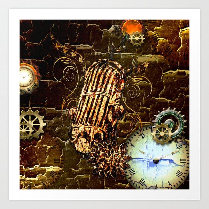 Steampunk, micropphone Art Print