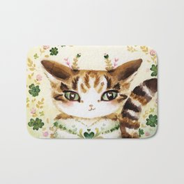 Poe: Heart of my Heart, St. Paddy's Day Cat, lucky charm Bath Mat