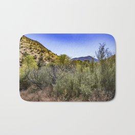 Fresh Green Plants Growing Near Underground Water by the Mountains in the Anza Borrego Desert Bath Mat