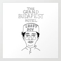 budapest hotel Art Prints featuring The Grand Budapest Hotel by ☿ cactei ☿
