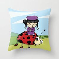 ladybug Throw Pillows featuring Ladybug by flydesign