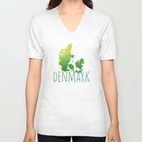 denmark V-neck T-shirts featuring Denmark by Stephanie Wittenburg