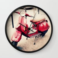 vespa Wall Clocks featuring vespa by iokk