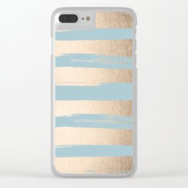 Painted Stripes Gold Tropical Ocean Sea Blue Clear iPhone Case