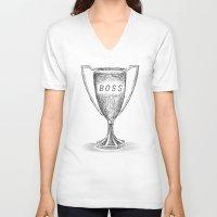 boss V-neck T-shirts featuring boss by Miranda J. Friedman