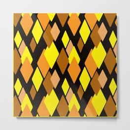 Black and yellow abstract pattern. Diamonds . Metal Print