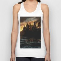 dumbledore Tank Tops featuring Harry Potter - Hogwart's Burning by Juniper Vinetree