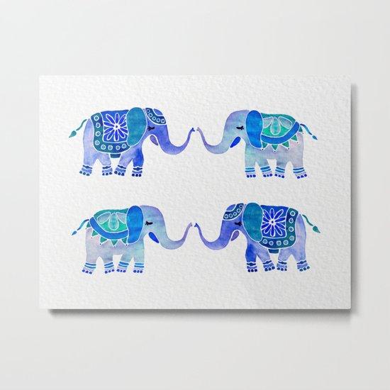 HAPPY ELEPHANTS - WATERCOLOR BLUE PALETTE Metal Print