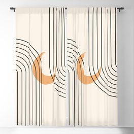 Geometric Lines in Black and Beige 18 (Rainbow and Moon Abstraction) Blackout Curtain