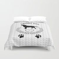 labrador Duvet Covers featuring Labrador Love by naturessol