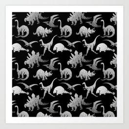 Black and White Dinos Art Print