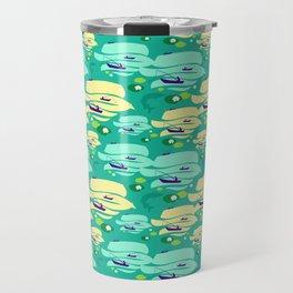 Pattern with fishermen in boats (green version) Travel Mug