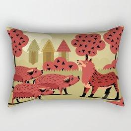 three little pigs and wolf Rectangular Pillow