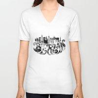 berlin V-neck T-shirts featuring Berlin by C.Matthes Art