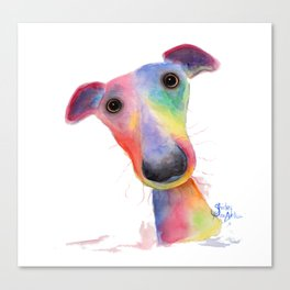 Nosey Dog Whippet / Greyhound ' HANK ' by Shirley MacArthur Canvas Print