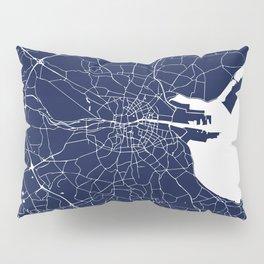 Dublin Street Map Navy Blue and White Pillow Sham