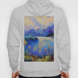 Flowers on the shore of a mountain lake Hoody