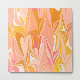 Abstract Marble in Pink Metal Print