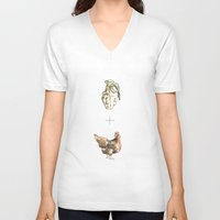 cock V-neck T-shirts featuring Blow Cock by Lathan Vargason
