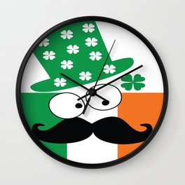 Irish mustache man st.Patty's day Wall Clock