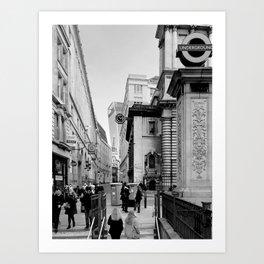 Bank Undegraund Station. London Art Print