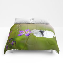 White Butterfly Natural Background Comforters