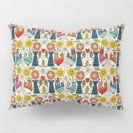 Swedish folksy cats and birds Pillow Sham